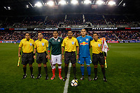 Harrison, NJ - Tuesday April 10, 2018: Carlos Salcido, Walter Lopez, Luis Robles prior to leg two of a  CONCACAF Champions League semi-final match between the New York Red Bulls and C. D. Guadalajara at Red Bull Arena. C. D. Guadalajara defeated the New York Red Bulls 0-0 (1-0 on aggregate).