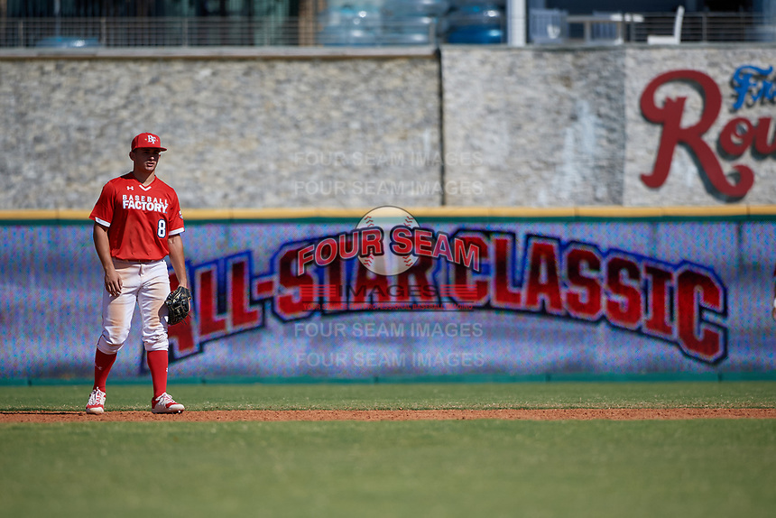 Second baseman Alex Ulloa (8) during the Baseball Factory All-Star Classic at Dr. Pepper Ballpark on October 4, 2020 in Frisco, Texas.  Alex Ulloa (8), a resident of Culter Bay, Florida, attends Calvary Christian Academy.  (Mike Augustin/Four Seam Images)