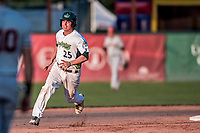 20 August 2017: Vermont Lake Monsters designated hitter Jordan Devencenzi in action against the Connecticut Tigers at Centennial Field in Burlington, Vermont. The Lake Monsters rallied to edge out the Tigers 6-5 in 13 innings of NY Penn League action.  Mandatory Credit: Ed Wolfstein Photo *** RAW (NEF) Image File Available ***