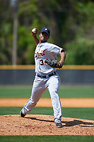 Detroit Tigers pitcher Fernando Perez (34) during a minor league Spring Training game against the New York Yankees on March 22, 2017 at the Yankees Complex in Tampa, Florida.  (Mike Janes/Four Seam Images)