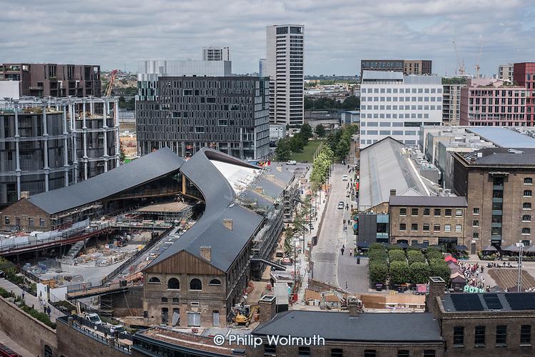 Redevelopment in progress on the former King's Cross Goods Yard, London.