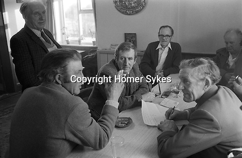 Laxton Jury Day and Court Leet. Laxton, Nottinghamshire, England 1973..November and first week of December.<br /> <br /> Laxton is the only place in England where the open-field system continues to be used.  It is thought that its anomalous survival is due to the inability of two early 19th century landowners to agree on how the land was to be enclosed, thus resulting in the perpetuation of the existing system.
