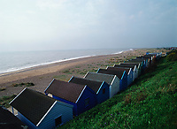 Beach huts Lined up along the coast in Southwold, England
