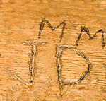 Joe Dimaggio & Marylyn Monroe initials in bar at Cape Cod Room, Drake Hotel, Restaurant, Chicago, Illinois