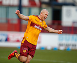 Motherwell's Curtis Main celebrates as Kevin Holt scores an OG to put the visitors 2 goals up