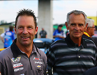 Aug 29, 2014; Clermont, IN, USA; NHRA pro stock driver Greg Anderson (left) with Bob Glidden during qualifying for the US Nationals at Lucas Oil Raceway. Mandatory Credit: Mark J. Rebilas-USA TODAY Sports