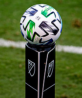 LOS ANGELES, CA - AUGUST 22: MLS Adidas ball during a game between Los Angeles Galaxy and Los Angeles FC at Banc of California Stadium on August 22, 2020 in Los Angeles, California.