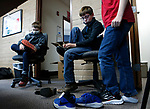 Students at Seeliger Elementary try on their new shoes during the Step into Spring program through the McKinney-Vento program at the Carson City School District, in Carson City, Nev., on Tuesday, April 27, 2021.<br /> Photo by Cathleen Allison