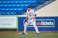 St. Lucie Mets first baseman Dash Winningham (34) during the first game of a doubleheader against the Charlotte Stone Crabs on April 24, 2018 at First Data Field in Port St. Lucie, Florida.  St. Lucie defeated Charlotte 5-3.  (Mike Janes/Four Seam Images)