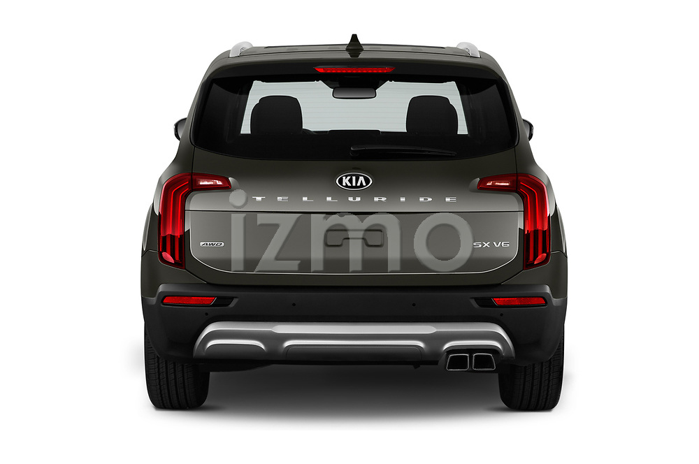 Straight rear view of a 2020 KIA Telluride SX 5 Door SUV stock images