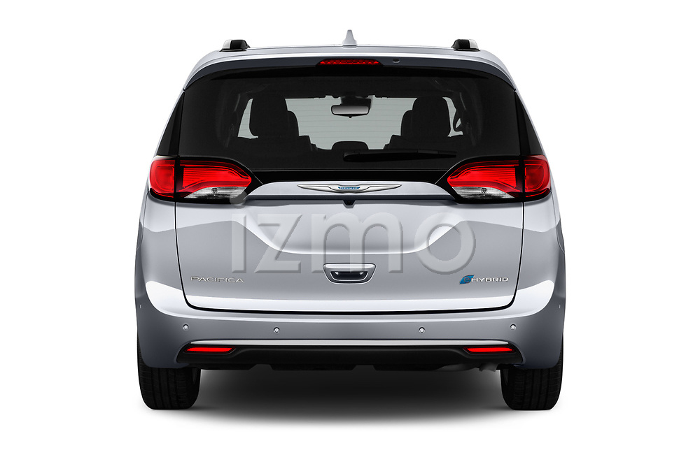 Straight rear view of a 2019 Chrysler Pacific Hybrid Limited 5 Door Mini Van stock images