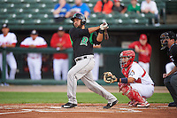 Dayton Dragons catcher Jose Duarte (16) at bat in front of catcher Jose Godoy (27) during a game against the Peoria Chiefs on May 6, 2016 at Dozer Park in Peoria, Illinois.  Peoria defeated Dayton 5-0.  (Mike Janes/Four Seam Images)
