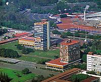 aerial photograph of the National Autonomous University of Mexico, UNAM, Mexico City | fotografía aérea de la Universidad Nacional Autónoma de México,  Ciudad de México