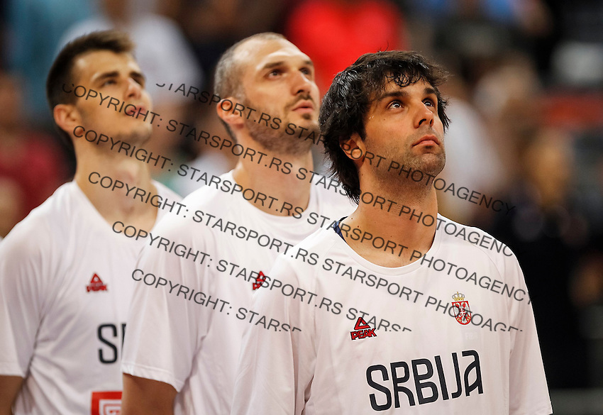 Kosarka FIBA Olympic Basketball Qualifying Tournament-Semifinals-Polufinale<br /> Serbia v Czech Republic<br /> from left Nemanja Dangubic Marko Simonovic Milos Teodosic<br /> Beograd, 08.07.2016.<br /> foto: Srdjan Stevanovic/Starsportphoto©