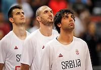 Kosarka FIBA Olympic Basketball Qualifying Tournament-Semifinals-Polufinale<br /> Serbia v Czech Republic<br /> from left Nemanja Dangubic Marko Simonovic Milos Teodosic<br /> Beograd, 08.07.2016.<br /> foto: Srdjan Stevanovic/Starsportphoto©