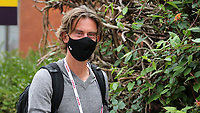 Brentford Manager, Thomas Frank arrives at the ground ahead of kick-off wearing a mask during Brentford vs Preston North End, Sky Bet EFL Championship Football at Griffin Park on 15th July 2020