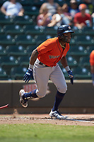 Ronnie Dawson (4) of the Buies Creek Astros starts down the first base line against the Winston-Salem Dash at BB&T Ballpark on July 15, 2018 in Winston-Salem, North Carolina. The Dash defeated the Astros 6-4. (Brian Westerholt/Four Seam Images)