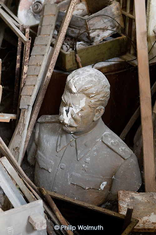 Damaged statue of Stalin dumped in the basement of the Museum of Modern History, Veliko Tarnovo, Bulgaria.