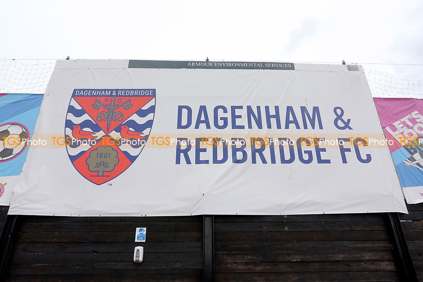 General view of a Dagenham & Redbridge FC banner during Dagenham & Redbridge vs Woking, Vanarama National League Football at the Chigwell Construction Stadium on 3rd May 2021