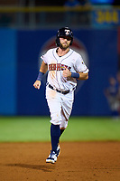 Toledo Mud Hens Kody Clemens (23) rounds the bases on a home run by Aderlin Rodriguez (not shown) during a game against the St. Paul Saints on August 26, 2021 at Fifth Third Field in Toledo, Ohio.  (Mike Janes/Four Seam Images)