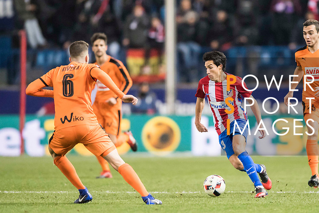 Nicolas Gaitan (r) of Atletico de Madrid competes for the ball with Cristian Rivera Hernandez of SD Eibar during their Copa del Rey 2016-17 Quarter-final match between Atletico de Madrid and SD Eibar at the Vicente Calderón Stadium on 19 January 2017 in Madrid, Spain. Photo by Diego Gonzalez Souto / Power Sport Images