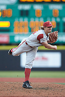 Arkansas Razorbacks relief pitcher Jake Reindl (34) follows through on his delivery against the Charlotte 49ers at Hayes Stadium on March 21, 2018 in Charlotte, North Carolina.  The 49ers defeated the Razorbacks 6-3.  (Brian Westerholt/Four Seam Images)