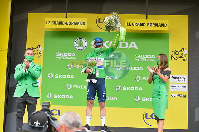 Mark Cavendish (GBR) Deceuninck-Quick Step retains the points Green Jersey at the end of Stage 8 of the 2021 Tour de France, running 150.8km from Oyonnax to Le Grand-Bornand, France. 3rd July 2021.  <br /> Picture: A.S.O./Charly Lopez | Cyclefile<br /> <br /> All photos usage must carry mandatory copyright credit (© Cyclefile | A.S.O./Charly Lopez)