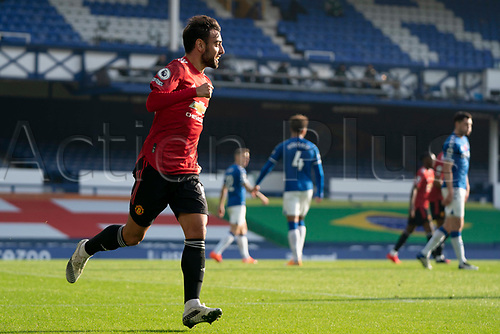 7th November 2020; Liverpool, England;  Manchester Uniteds Bruno Fernandes celebrates after scoring his first goal during the Premier League match between Everton and Manchester United at Goodison Park Stadium