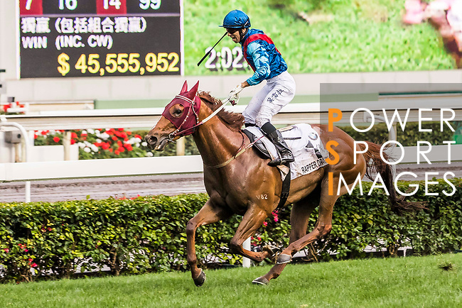 Jockey Joao Moreira riding Rapper Dragon (l) celebrates winning the 2017 BMW Hong Kong Derby Race at the Sha Tin Racecourse on 19 March 2017 in Hong Kong, China. Photo by Marcio Rodrigo Machado / Power Sport Images