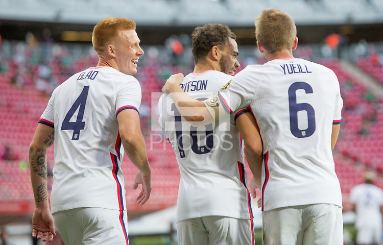 ZAPOPAN, MEXICO - MARCH 21: Justen Glad #4, Hassani Dotson #18 and Jackson Yueill #6 of the United States celebrate during a game between Dominican Republic and USMNT U-23 at Estadio Akron on March 21, 2021 in Zapopan, Mexico.