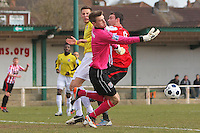 Bromley goalkeeper Joe Welch denies Martin Tuohy of Hornchurch - AFC Hornchurch vs Bromley - Blue Square Conference South Football at The Stadium, Upminster Bridge, Essex - 01/04/13 - MANDATORY CREDIT: Gavin Ellis/TGSPHOTO - Self billing applies where appropriate - 0845 094 6026 - contact@tgsphoto.co.uk - NO UNPAID USE.