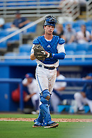 Dunedin Blue Jays catcher Riley Adams (23) during a game against the Lakeland Flying Tigers on July 31, 2018 at Dunedin Stadium in Dunedin, Florida.  Dunedin defeated Lakeland 8-0.  (Mike Janes/Four Seam Images)