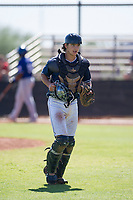 San Diego Padres catcher Jonny Homza (7) jogs off the field between innings during an Instructional League game against the Texas Rangers on September 20, 2017 at Peoria Sports Complex in Peoria, Arizona. (Zachary Lucy/Four Seam Images)
