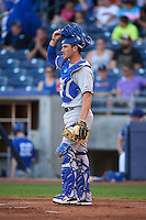 Midland RockHounds catcher Carson Blair (22) during a game against the Tulsa Drillers on June 2, 2015 at Oneok Field in Tulsa, Oklahoma.  Midland defeated Tulsa 6-5.  (Mike Janes/Four Seam Images)