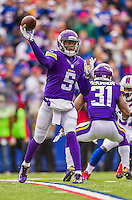 19 October 2014: Minnesota Vikings quarterback Teddy Bridgewater makes a forward pass during the opening drive against the Buffalo Bills at Ralph Wilson Stadium in Orchard Park, NY. The Bills defeated the Vikings 17-16 in a dramatic, last minute, comeback touchdown drive. Mandatory Credit: Ed Wolfstein Photo *** RAW (NEF) Image File Available ***