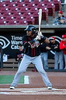 Lansing Lugnuts catcher Juan Kelly (25) at bat during a Midwest League game against the Wisconsin Timber Rattlers on April 29th, 2016 at Fox Cities Stadium in Appleton, Wisconsin.  Wisconsin defeated Lansing 2-0. (Brad Krause/Four Seam Images)
