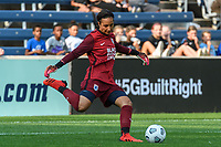 BRIDGEVIEW, IL - JULY 18: Sarah Bouhaddi #12 of the OL Reign kicks the ball during a game between OL Reign and Chicago Red Stars at SeatGeek Stadium on July 18, 2021 in Bridgeview, Illinois.