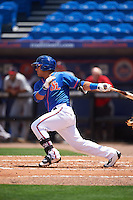 St. Lucie Mets second baseman Phillip Evans (28) at bat during a game against the Brevard County Manatees on April 17, 2016 at Tradition Field in Port St. Lucie, Florida.  Brevard County defeated St. Lucie 13-0.  (Mike Janes/Four Seam Images)