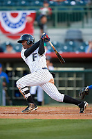 Florida Fire Frogs right fielder Ronald Acuna (27) follows through on a swing during a game against the Dunedin Blue Jays on April 10, 2017 at Osceola County Stadium in Kissimmee, Florida.  Florida defeated Dunedin 4-0.  (Mike Janes/Four Seam Images)