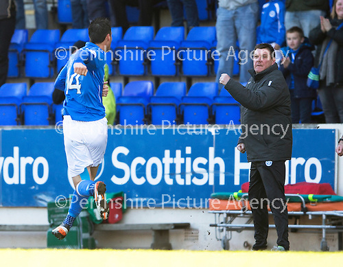 St Johnstone v Dundee....11.04.15   SPFL<br /> Tommy Wright punches tha air as Brian Graham celebrates his goal<br /> Picture by Graeme Hart.<br /> Copyright Perthshire Picture Agency<br /> Tel: 01738 623350  Mobile: 07990 594431