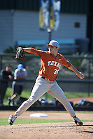 Ty Culbreth (38) of the Texas Longhorns pitches during a game against the UCLA Bruins at Jackie Robinson Stadium on March 12, 2016 in Los Angeles, California. UCLA defeated Texas, 5-4. (Larry Goren/Four Seam Images)