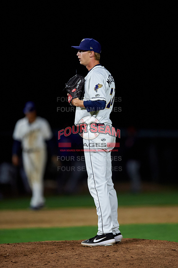 Tri-City Dust Devils relief pitcher Deacon Medders (24) during a Northwest League game against the Vancouver Canadians at Gesa Stadium on August 21, 2019 in Pasco, Washington. Vancouver defeated Tri-City 1-0. (Zachary Lucy/Four Seam Images)