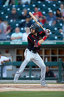 Jake Cave (16) of the Rochester Red Wings at bat against the Charlotte Knights at BB&T BallPark on May 14, 2019 in Charlotte, North Carolina. The Knights defeated the Red Wings 13-7. (Brian Westerholt/Four Seam Images)