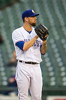 Round Rock Express pitcher Anthony Ranaudo (50) looks to his catcher for the sign during Pacific Coast League game against the Memphis Redbirds on April 21, 2015 at the Dell Diamond in Round Rock, Texas. Round Rock defeated Memphis 2-1. (Andrew Woolley/Four Seam Images)