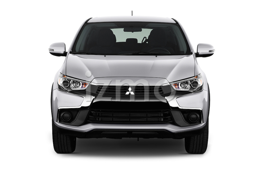 Car photography straight front view of a 2016 Mitsubishi Outlander-Sport 2.4-ES-AWC-CVT 5 Door SUV Front View