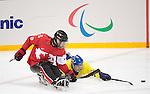 Kevin Rempel, Sochi 2014 - Para Ice Hockey // Para-hockey sur glace.<br /> Team Canada takes on Sweden in Para Ice Hockey // Équipe Canada affronte la Suède en para-hockey sur glace. 08/03/2014.