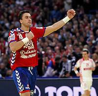 Momir Ilic of Serbia celebrate during men`s EHF EURO 2012 championship semifinal handball game between Serbia and Croatia in Belgrade, Serbia, Friday, January 27, 2011.  (photo: Pedja Milosavljevic / thepedja@gmail.com / +381641260959)