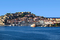 Picturesque town and harbor of Portoferraio, Elba, Italy.