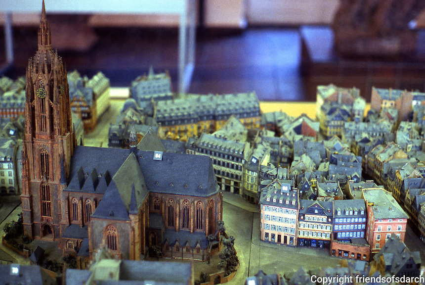 Frankfurt: Old Frankfurt Model--Domplatz quarter from river.