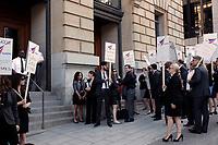 Les Juristes de Montreal en greve, juillet 2013.<br /> <br /> Photo : Agence Quebec Presse.<br /> <br />  July 2013 File Photo - strike of Montreal's jurists